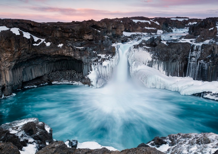 The most amazing Aldeyjarfoss located in the Icelandic highlands