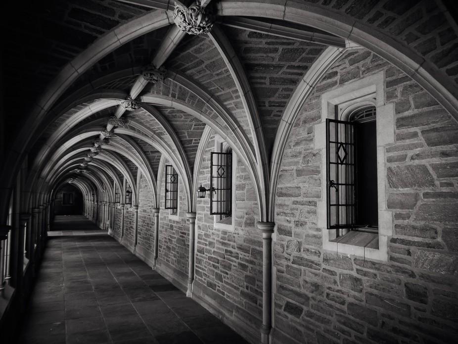 Beautiful corridor at Princeton University in Princeton, New Jersey.