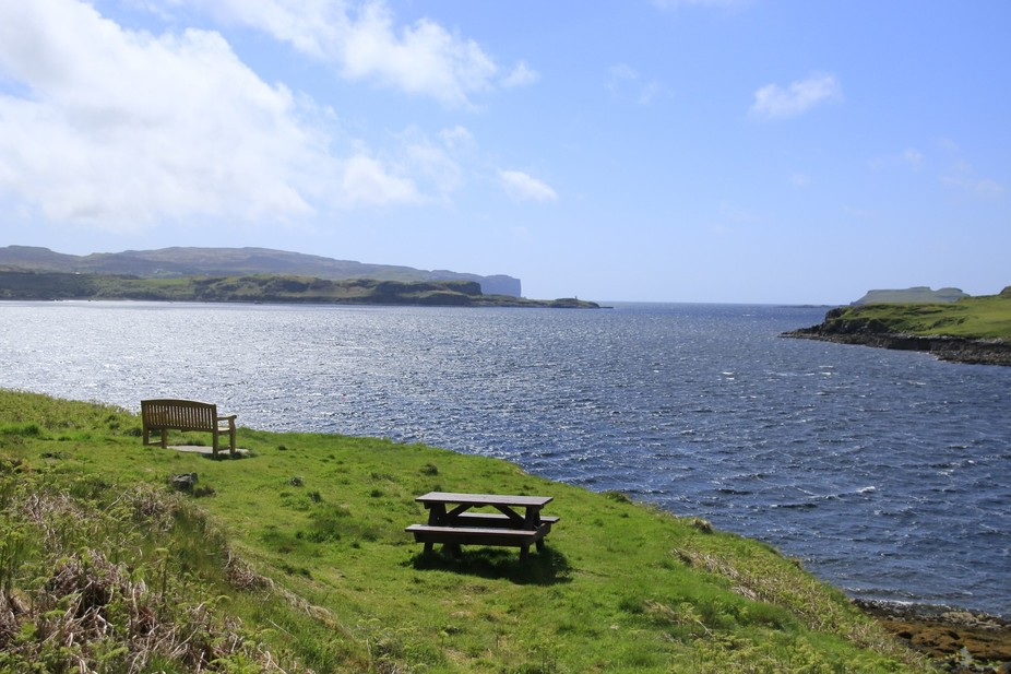 Sitting on the bench on the Island of Skye seeing this beautiful sea and landscape it's ...