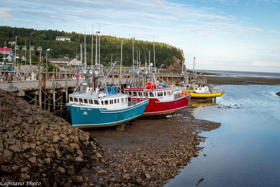 Alma, New Brunswick, Canada  Low tide waiting for high tide to go fishing!!