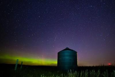 Grain Bin with Aurora Borealis