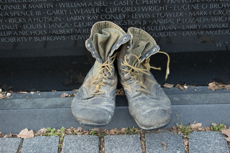 Jungle boots left at the base of the Vietnam Memorial in Washington, DC.