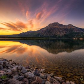 Sunrise over Middle Waterton Lake and Mount Vimy.  Waterton Lakes National Park August 2, 2015  This is an HDR image consisting of 5 exposures me...