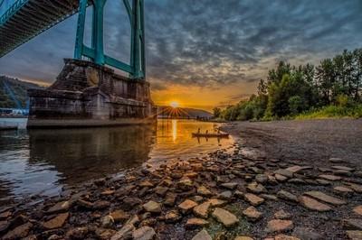 Sunset under the St John's Bridge