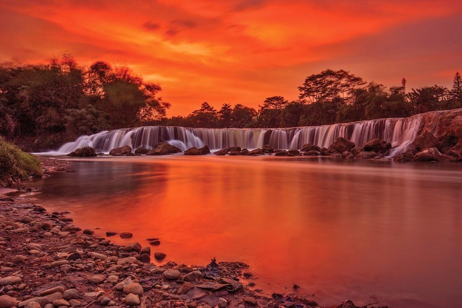 Sunset at Parigi Waterfall, Bekasi, Indonesia
