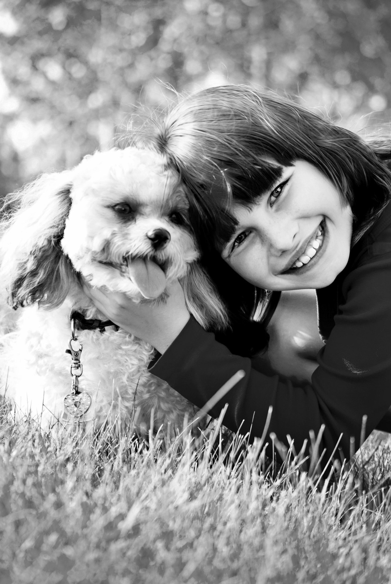 Girl and Dog Black and White