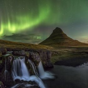 "This stunning northern light or ""Aurora Borealis"" was majestic to experienced for the first time. This was shoot in mount Kirkjufell, I..."