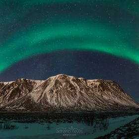 Northern lights panorama over a mountain somewhere in Iceland (can't really tell where I was, but it was somewhere around Reykjavik!) and th...