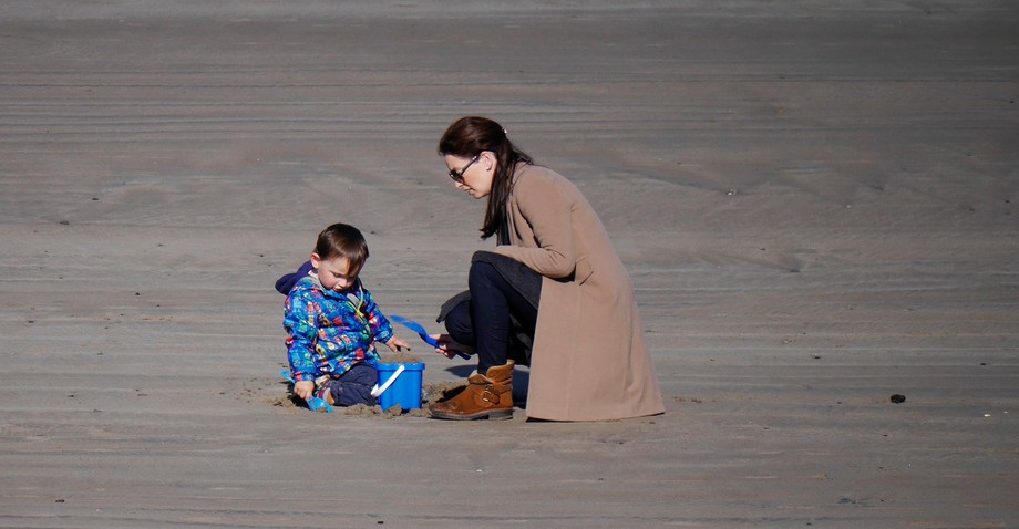Mum and child on an Irish beach last week in Co Sligo.
