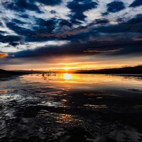 Sunset on Paraparaumu beach in New Zealand