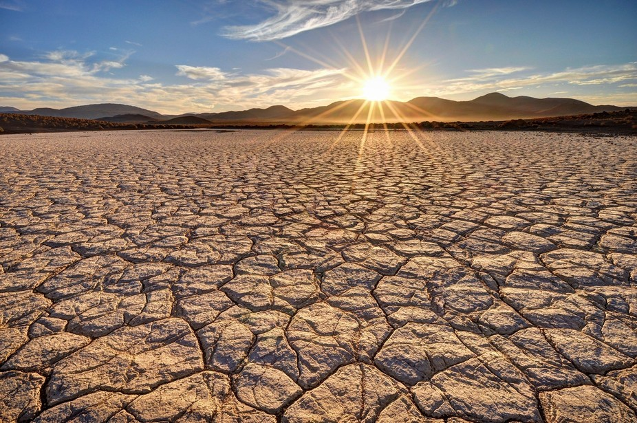 Sun-Cracked Field Near Fossil Falls, California.