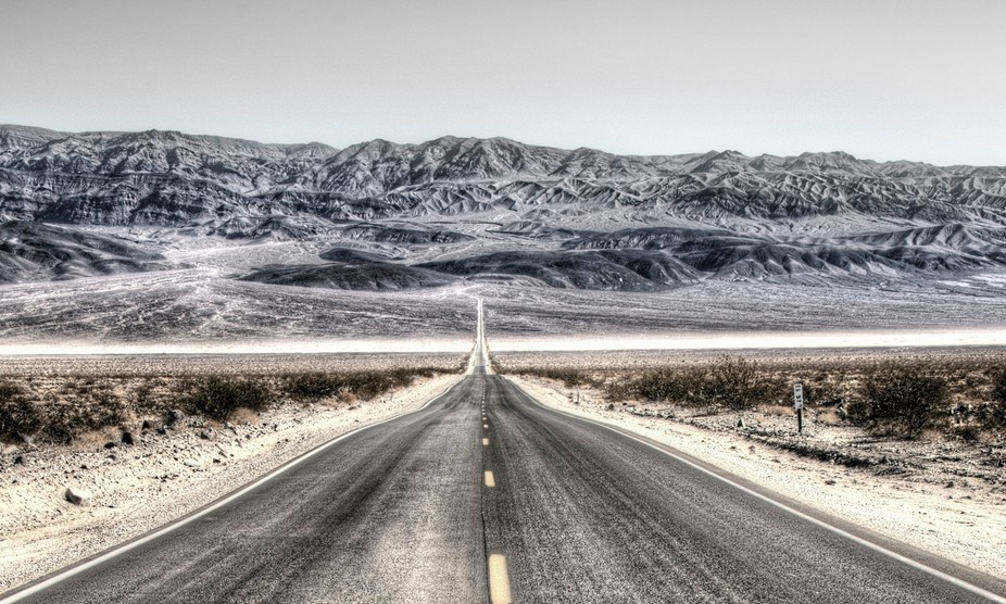 The long road from Panamint Valley leading into the hills of Death Valley.