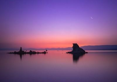 Mono Lake and Crescent Moon