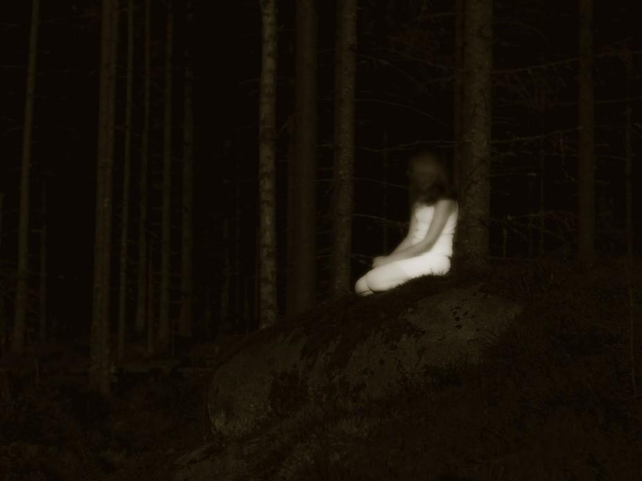 Forest girl in moonlight