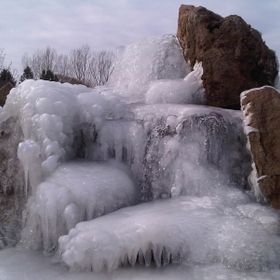 Frozen water fountain in Idaho.
