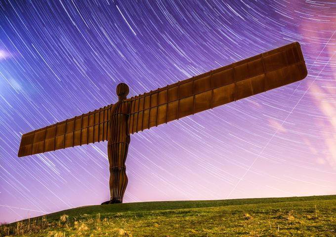 Angel of the North Star Trails. by shanzhi - Sci Fi Photo Contest