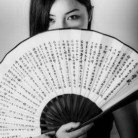 Follow me -> Totoosart  Portrait of a Chinese Beauty holding a Chinese fan, the fan has Chinese calligraphy inscribed on it. The Original Digi...