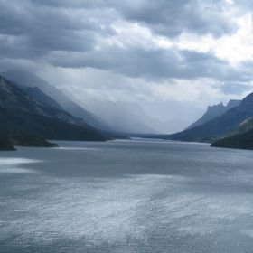 The view behind the Prince of Wales hotel in Waterton Lakes National Park, Alberta, Canada. A storm is approaching.
