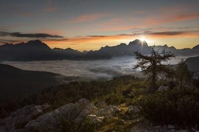 The sun rises over Monte Civetta