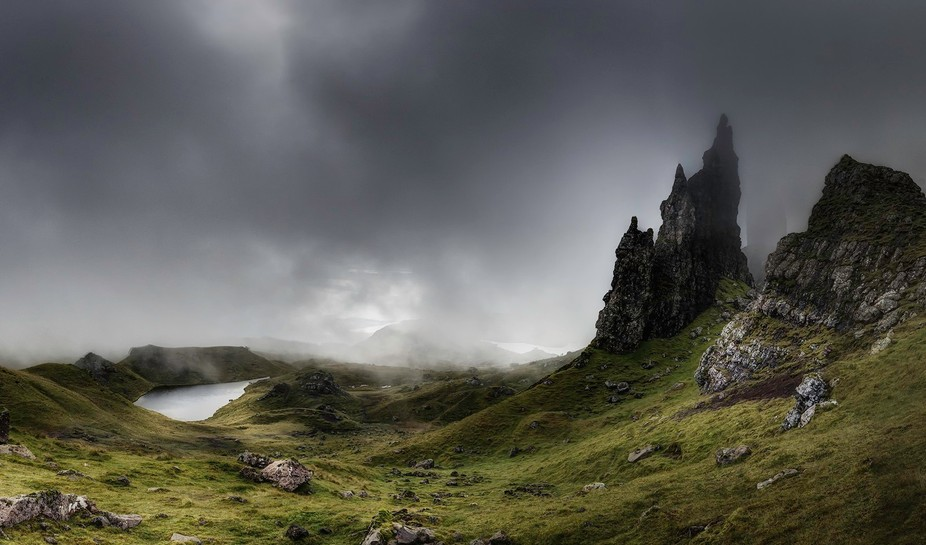 Through the light.Old man of Storr. Isle of Skye.