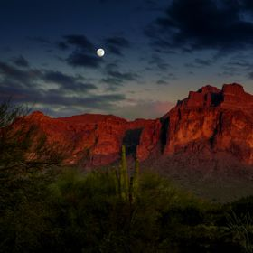 Autumn moon rising over the Superstition Mountains.