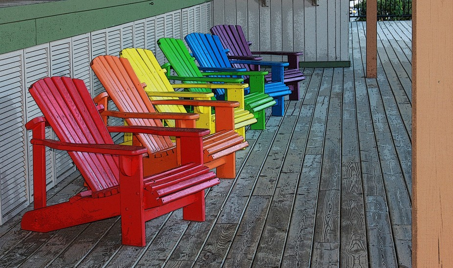 at The Dunes in Saugatuck, MI rainbow colored deck chairs