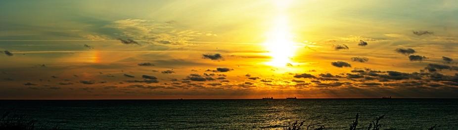 Black sea, Sunrise, ships at anchorage