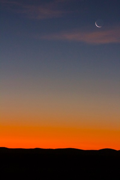 Both sunset and moon