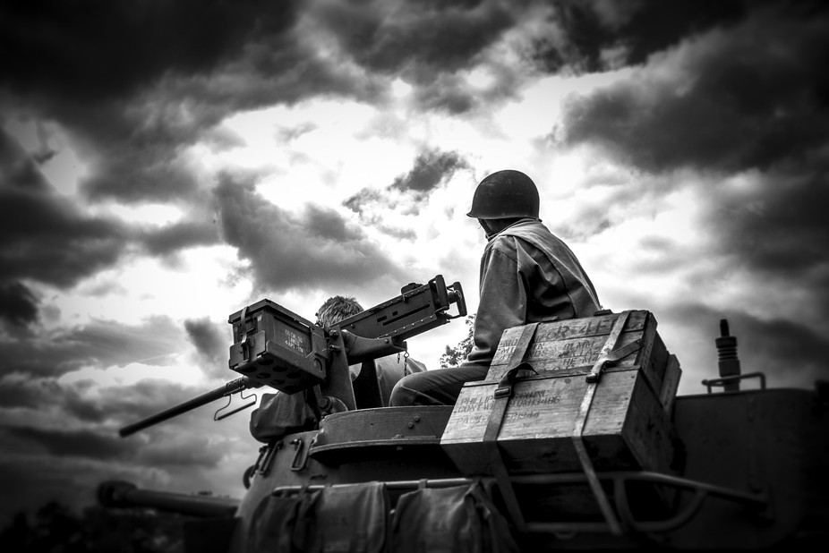 A Sherman Tank makes its way to battle field at the Victory Show - the UK's largest Worl...