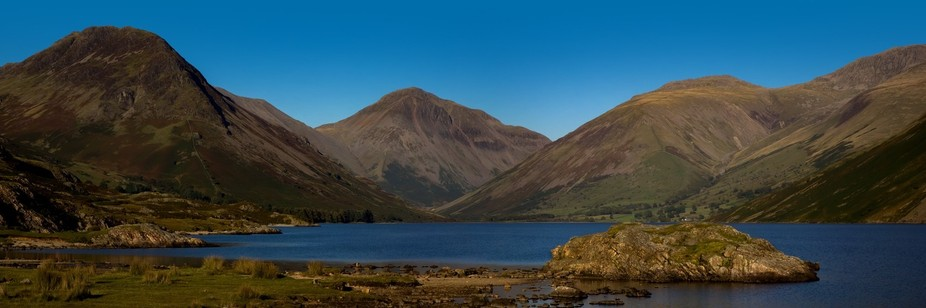 Panoramic view of Wast Water in the Lake District National Park. This was taken looking down to W...