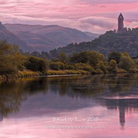 Pre-dawn colours at the Wallace Monument, viewed from the River Forth near Raploch, Stirling