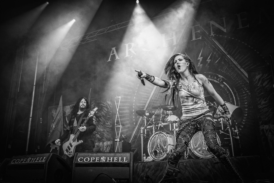 Arch Enemy on stage at the 2014 Copenhell metal festival in Copenhagen, Denmark. In the foregroun...