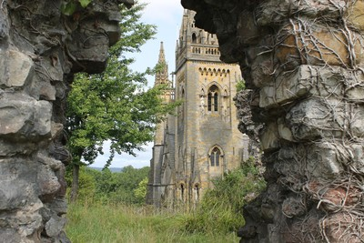 IMG_7252 A view of Llandaff Cathedral through an old ruin