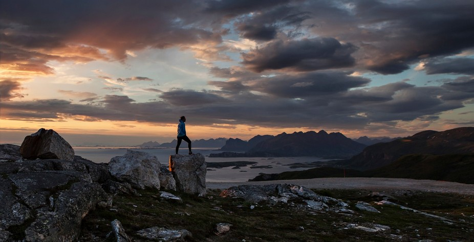 In northern Norway, where the sun doesn't settle during the summer , we often go hiking ...