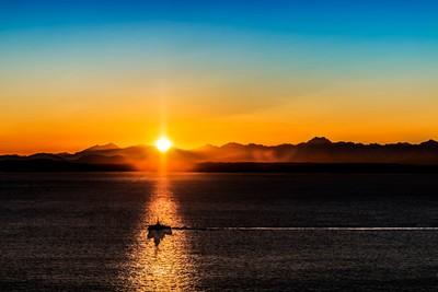 Boat In Sunset In Seattle