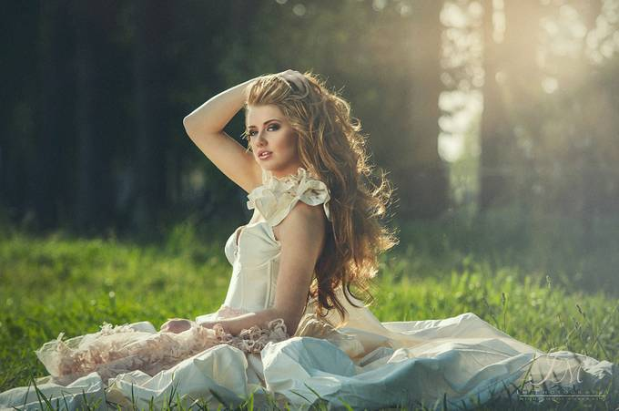 Girl in wedding dress with backlit by Inkie333 - Celebrating Fashion Photo Contest