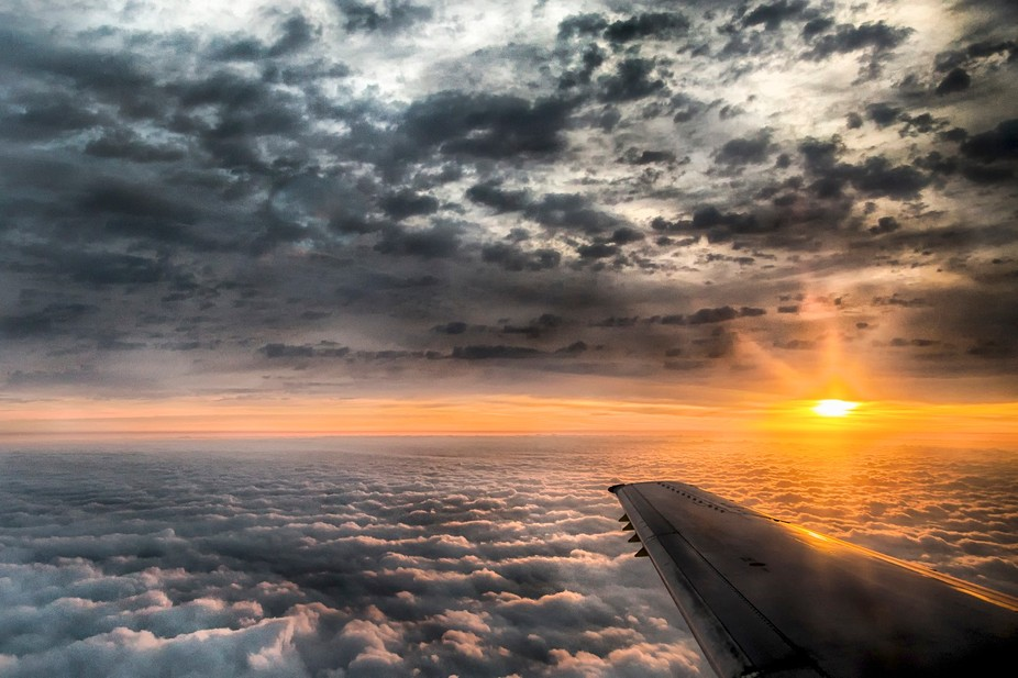 Sunrise in the clouds.