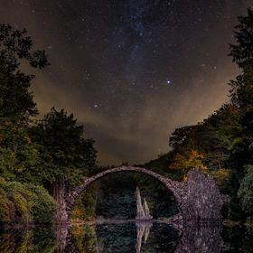 A night shot from the famous Rakotzbrücke at the Saxon Swiss in germany..