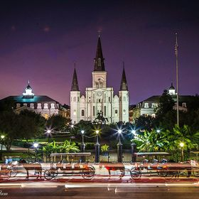 Night shot of Jackson Square and the St. Louis Cathedral in New Orleans, LA.