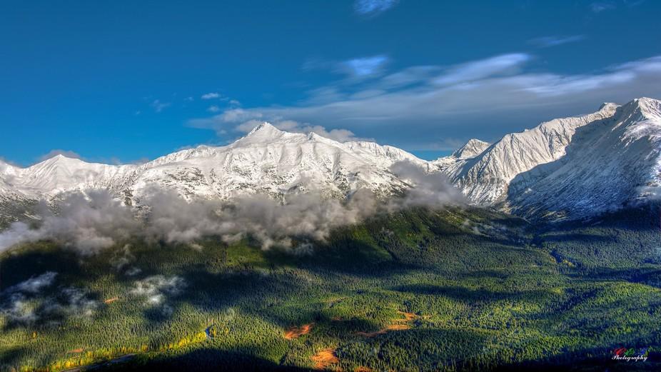 Chugach mountain range, Girdwood Alaska, shot from top of Ski lifts