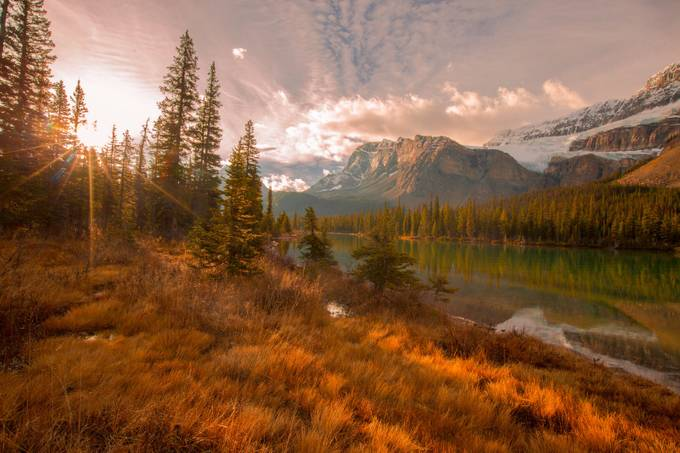 Sunburst across Bow Lake at the Golden Hour by pennymiller - Image of the Year Photo Contest by Snapfish