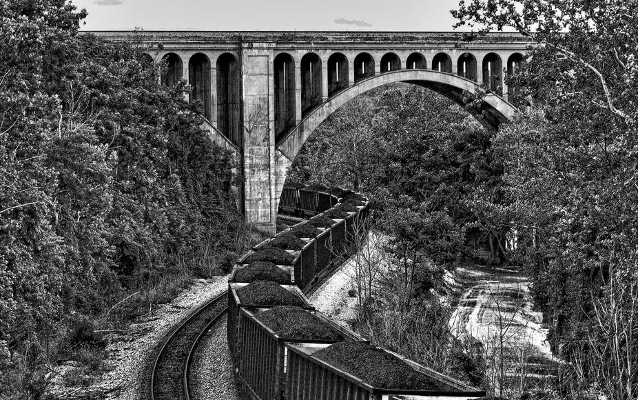 train bridge with train