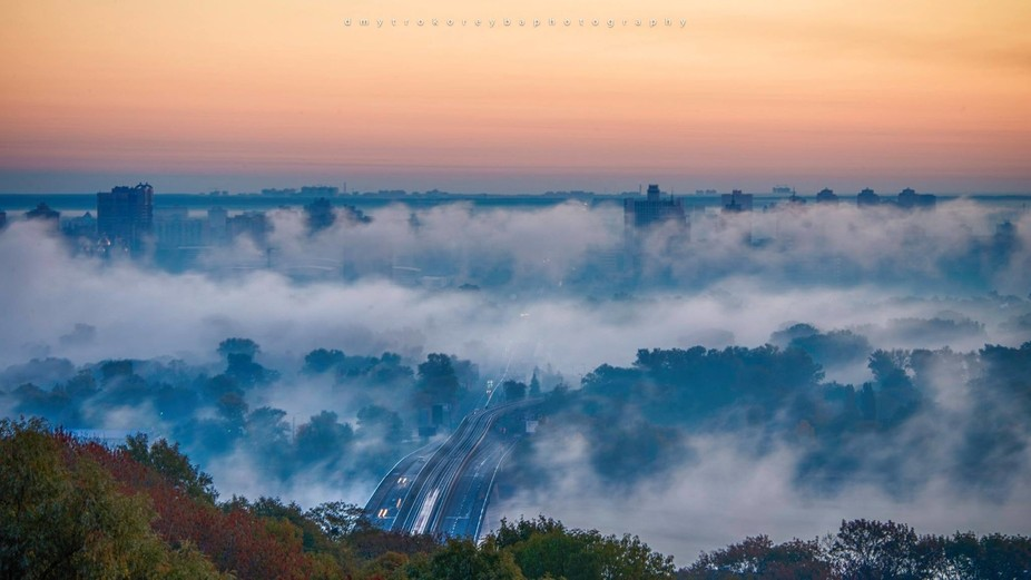 Fog over the Dnipro river, Kiev, Ukraine