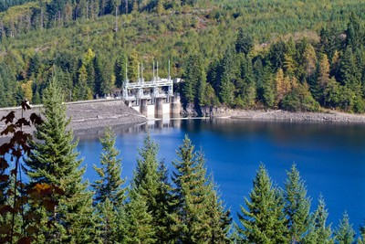 View of B.C. Hydro plant upgrade, near Campbell River