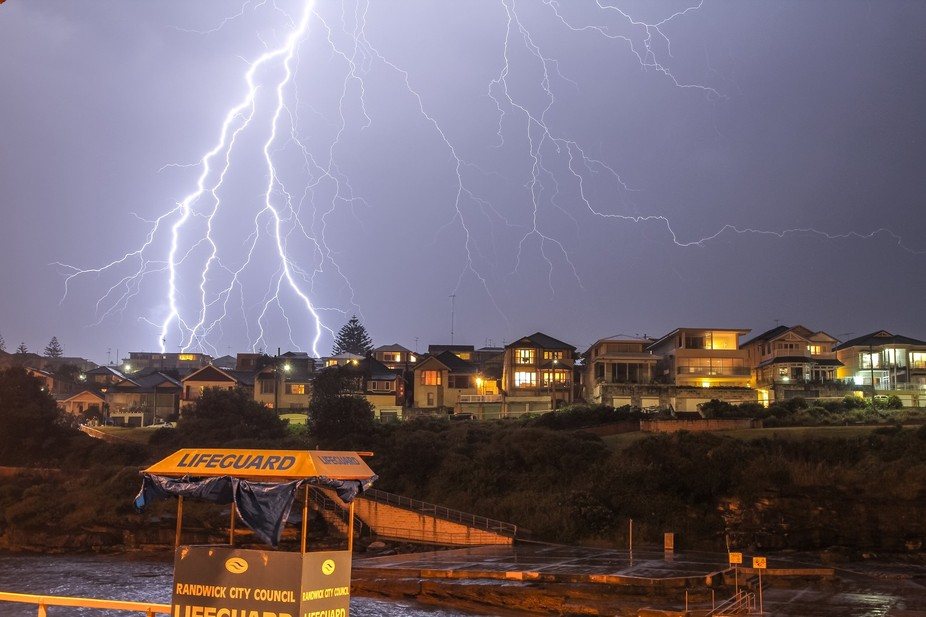 Long Exposure during violent electrical storm, Jan 2012