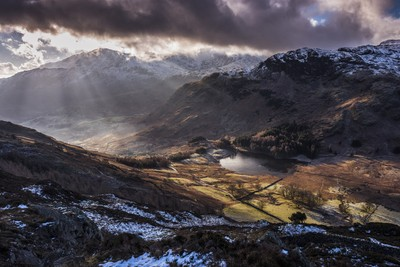 Blea Tarn from Lingmoor Fell, Cumbria, England