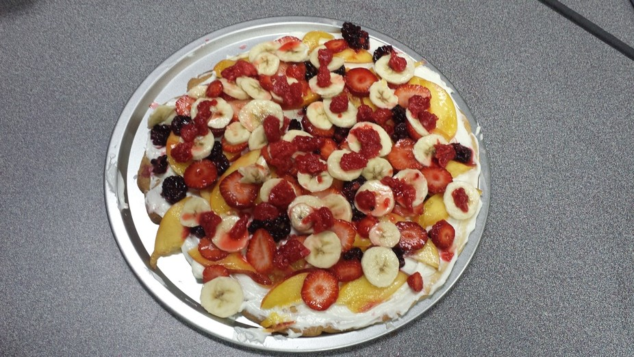 "This fruit pizza was created at an ""Afterschool Program"" where I taught some ba..."