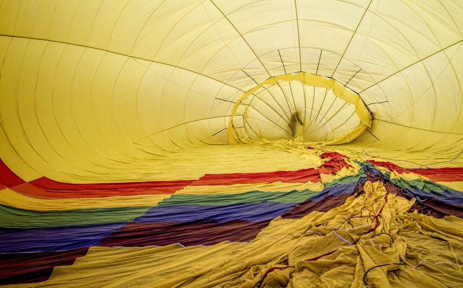 Inflating the balloon.