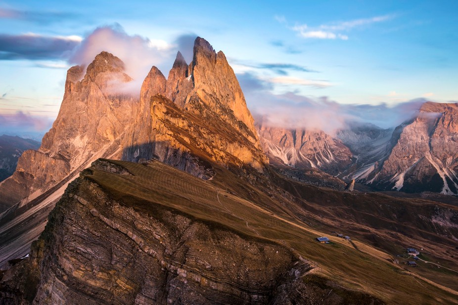 The dramatic peaks of the Geisler / Odle group in the Italian Dolomites.