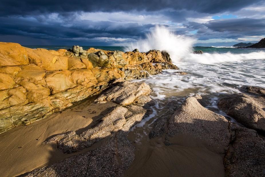 Waves at Costa Rei, south Sardinia, Italy